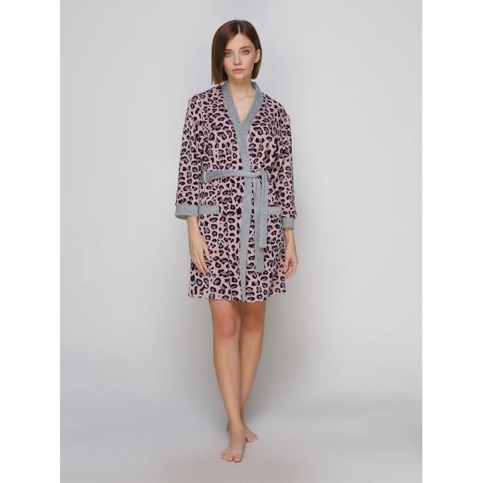 Велюровий леопардовий халат 8005H Serenade
